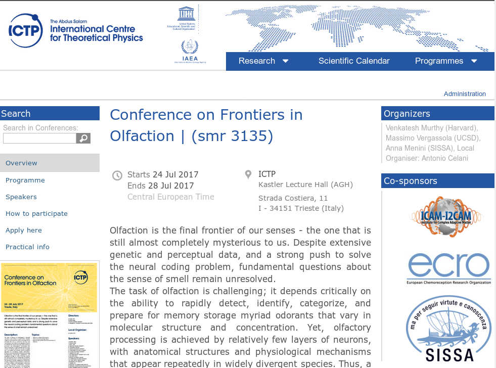 frontiers in olfaction trieste